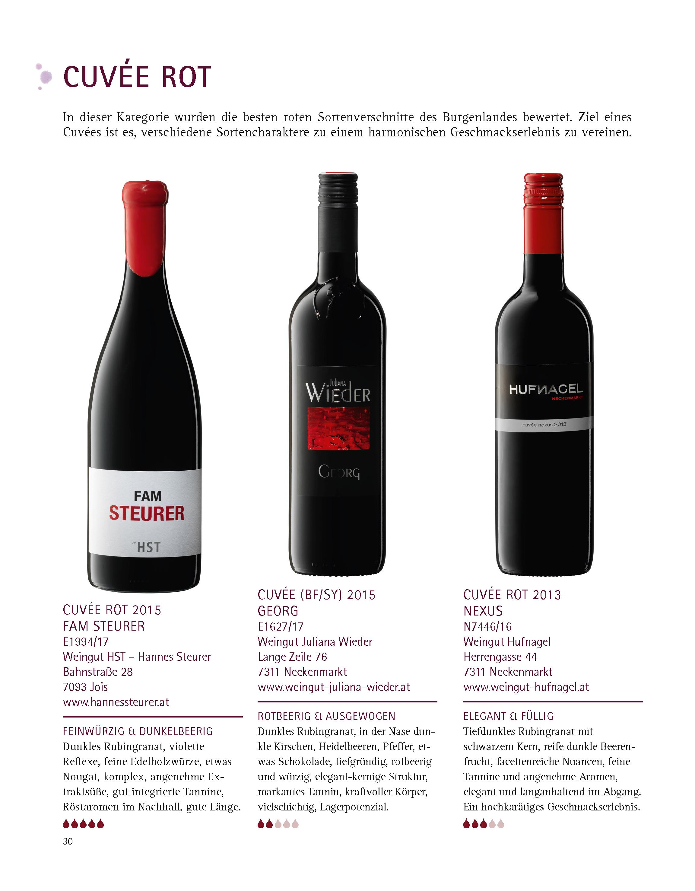 """Cuvée rot FAM STEURER – 3. Bundessieger in der Kategorie """"Cuvée rot"""" bei der Weinprämierung BEST OF BURGENLAND"""