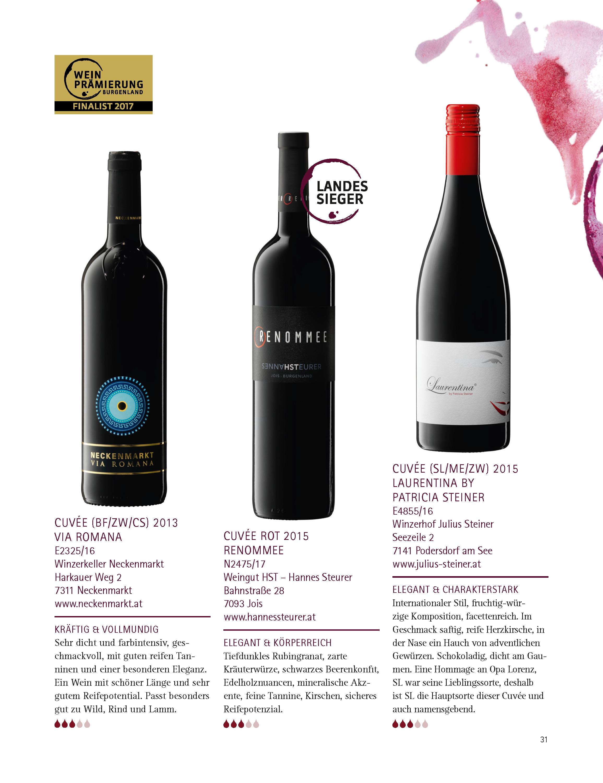 Cuvée rot RENOMMEE – Landessieger 2017 bei der Weinprämierung BEST OF BURGENLAND